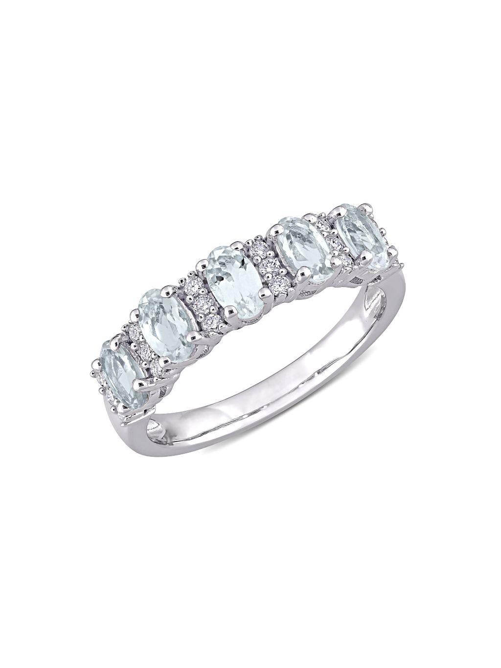 Saks Fifth Avenue 14K White Gold, Oval-Cut Aquamarine & Round-Cut Diamond Semi-Eternity Band Ring