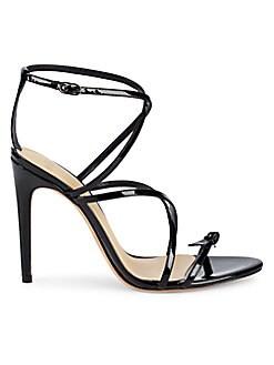 Schutz Jeanette Black Leather Tie Up Stiletto High Heel Strappy Dress Sandal