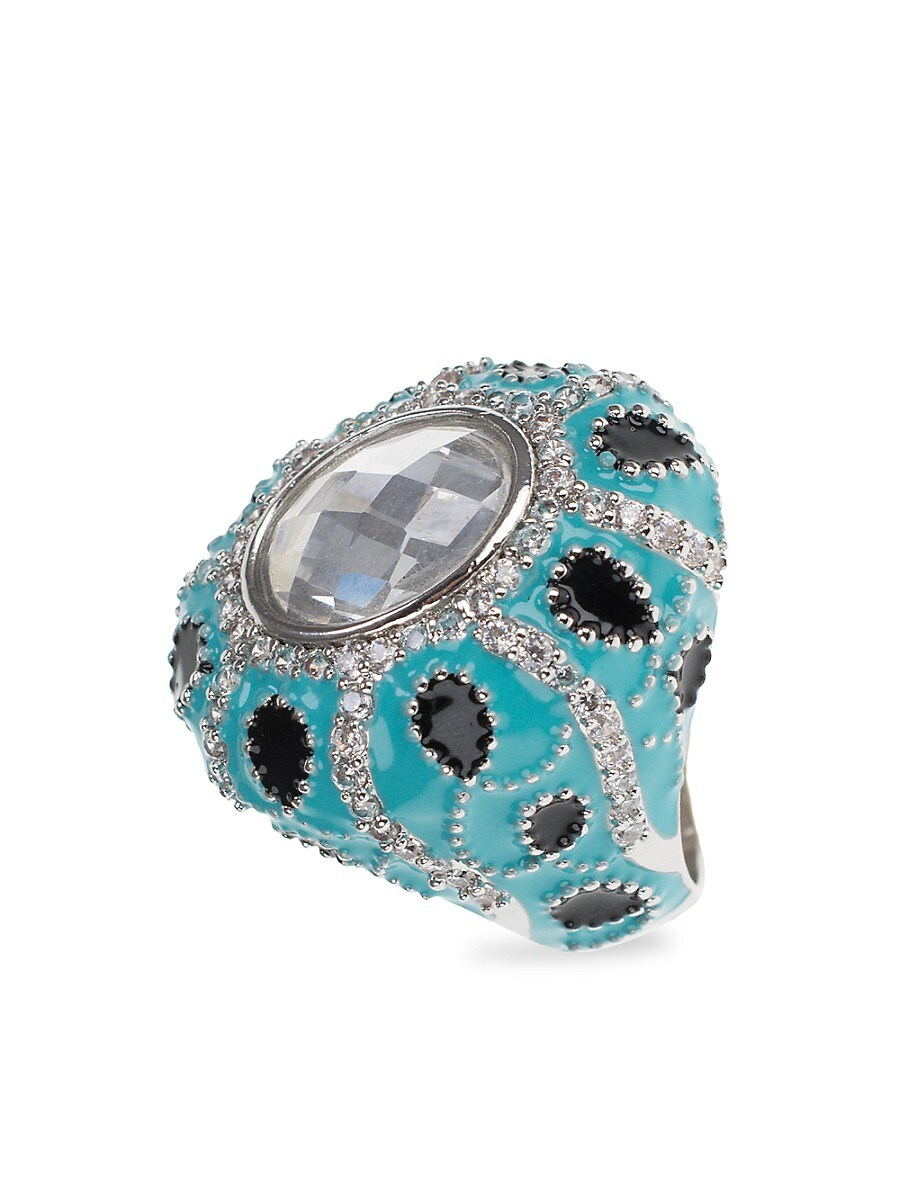 Women's Turban Rhodium-Plated & Crystal Ring