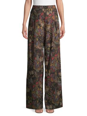 Valentino Butterfly Wide-leg Cotton Pants In Camo Army