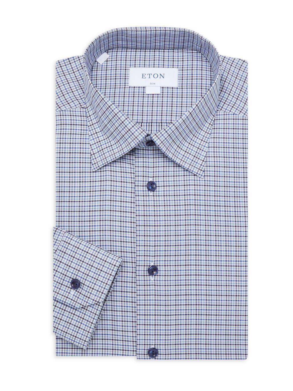 Eton Slim-Fit Tattersall Dress Shirt