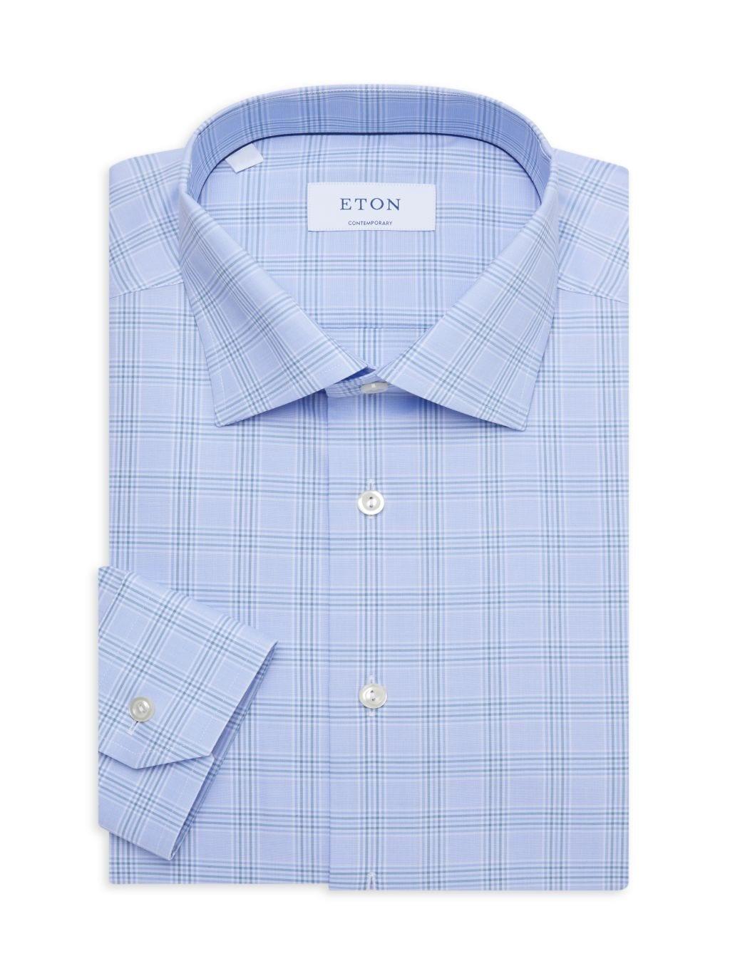 Eton Contemporary-Fit Plaid-Print Dress Shirt