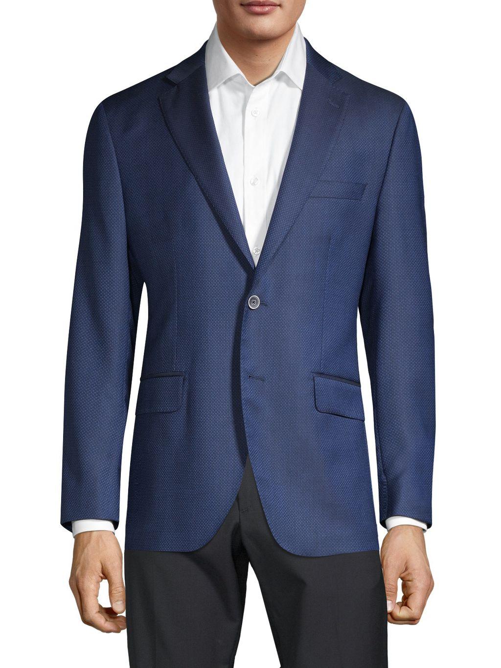 Saks Fifth Avenue Made in Italy Regular-Fit Textured Wool & Silk Blazer