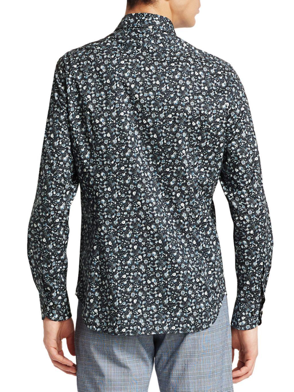 Saks Fifth Avenue COLLECTION Mini Floral-Print Cotton Sport Shirt