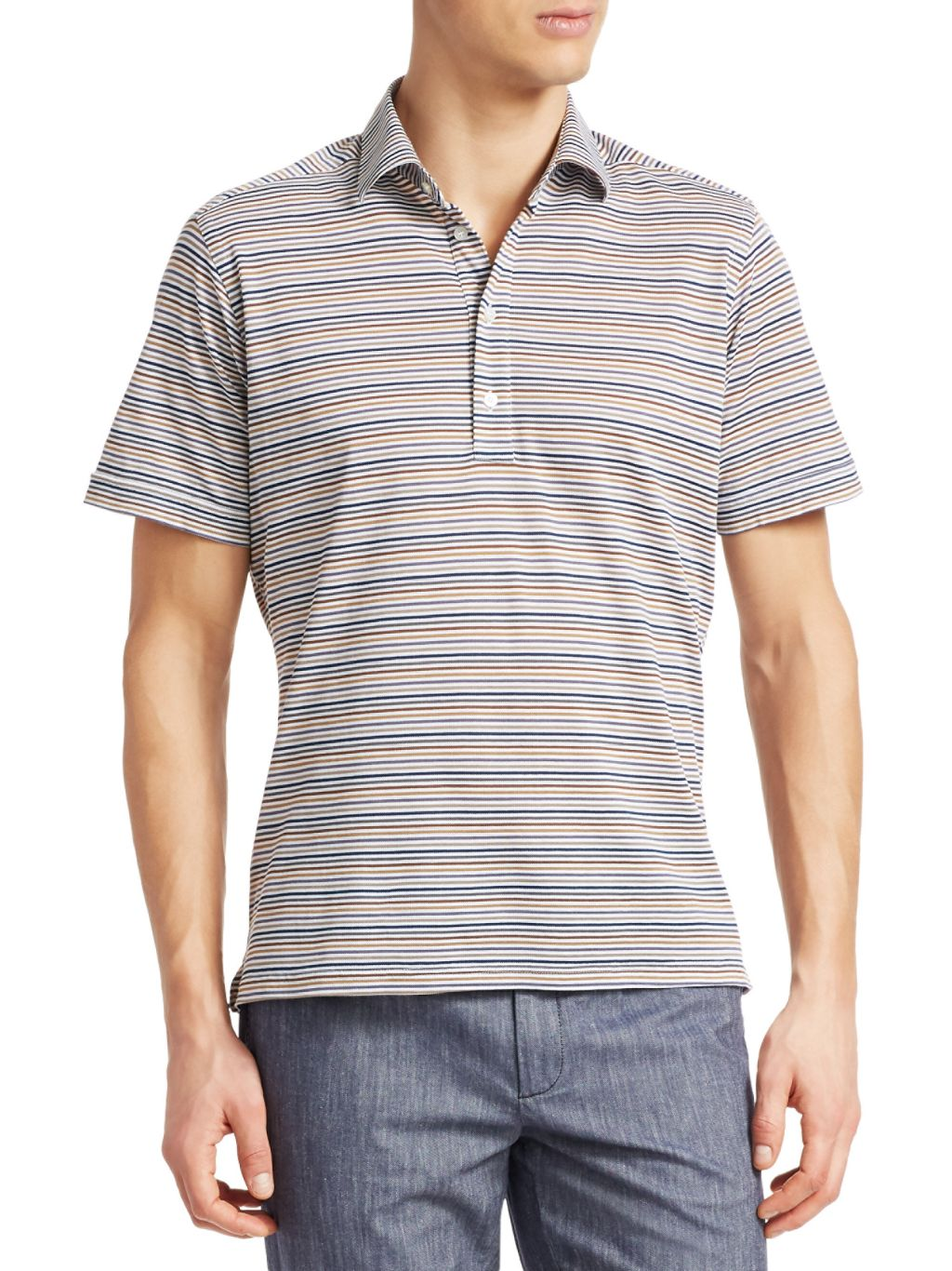 Saks Fifth Avenue COLLECTION Multi-Color Stripe Cotton Polo