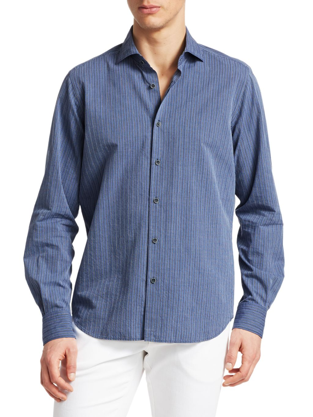 Saks Fifth Avenue COLLECTION Striped Cotton Boucle Sport Shirt