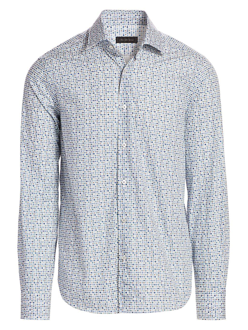Saks Fifth Avenue COLLECTION Multi-Color Leaf Print Shirt