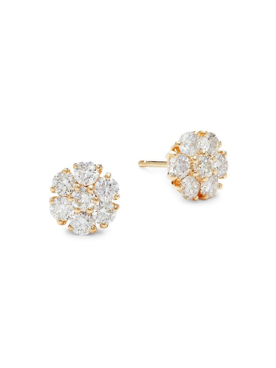 14K Yellow Gold & 1.60 TCW Diamond Stud Earrings