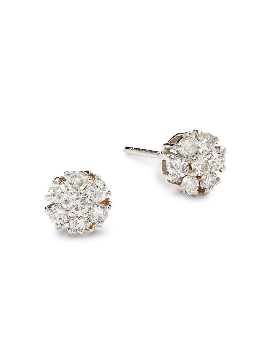 Women's 14K White Gold & 0.50 TCW Diamond Flower Stud Earrings