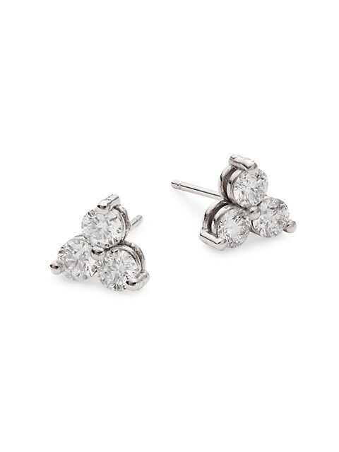 Diana M Jewels 14K White Gold & 1 TCW Diamond Stud Earrings