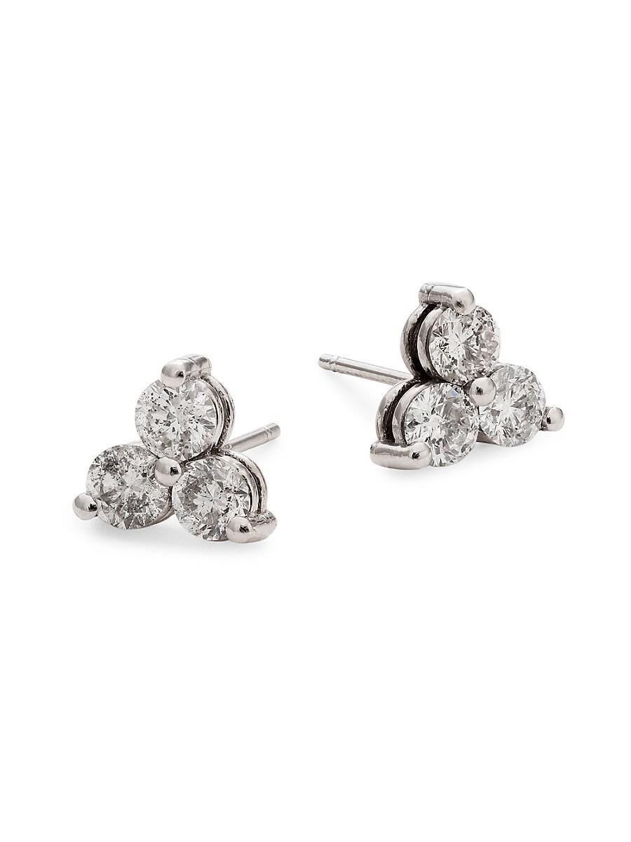 Women's 14K White Gold & 1.25 TCW Diamond Stud Earrings