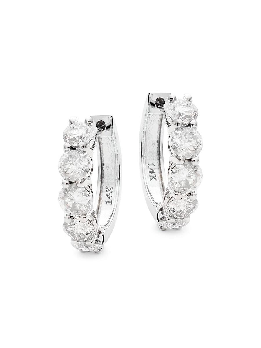 Women's 14K White Gold & 2 TCW Diamond Hoop Earrings