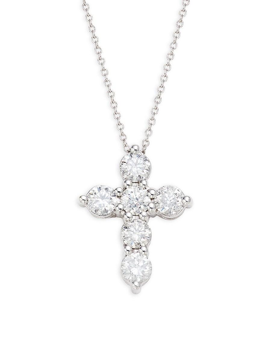 Women's 18K White Gold & 1.50 TCW Diamond Cross Pendant Necklace