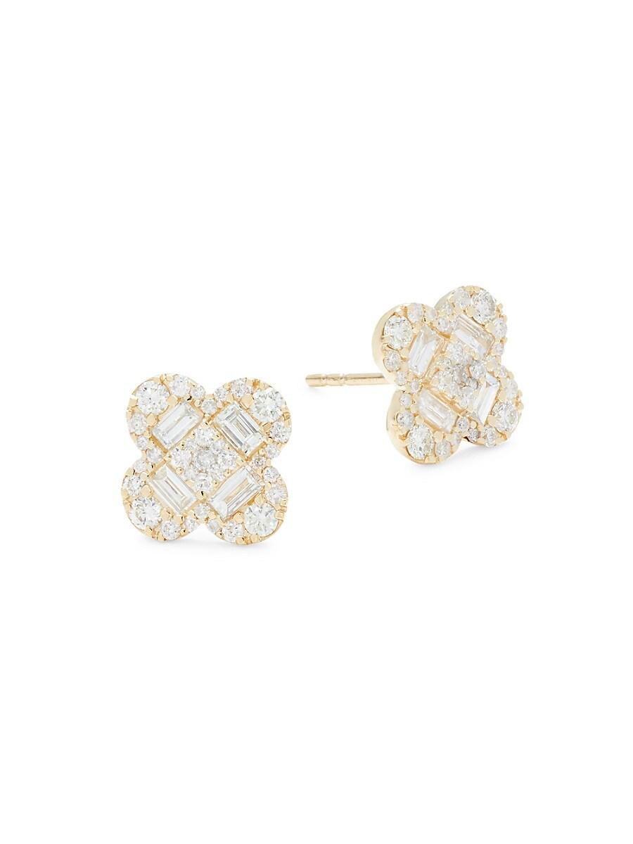 Women's 14K Yellow Gold & 1.3 TCW Diamond Stud Earrings