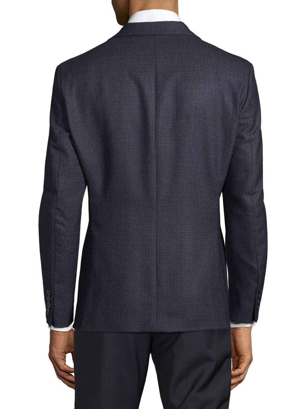 Calvin Klein Slim-Fit Mini Check Wool Blazer
