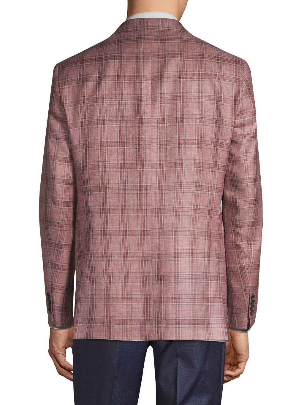 Saks Fifth Avenue Made in Italy Regular-Fit Plaid Wool, Silk & Linen Jacket