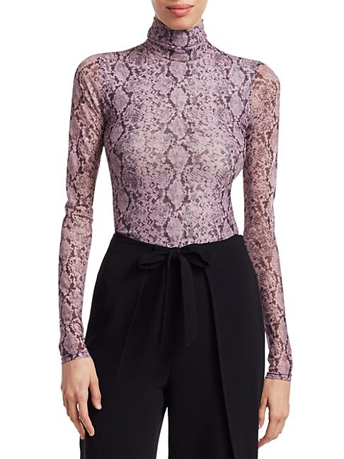 Cinq Sept Snake Print Turtleneck Top