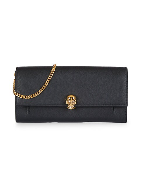 Alexander Mcqueen PEBBLED LEATHER FLAP WALLET-ON-CHAIN