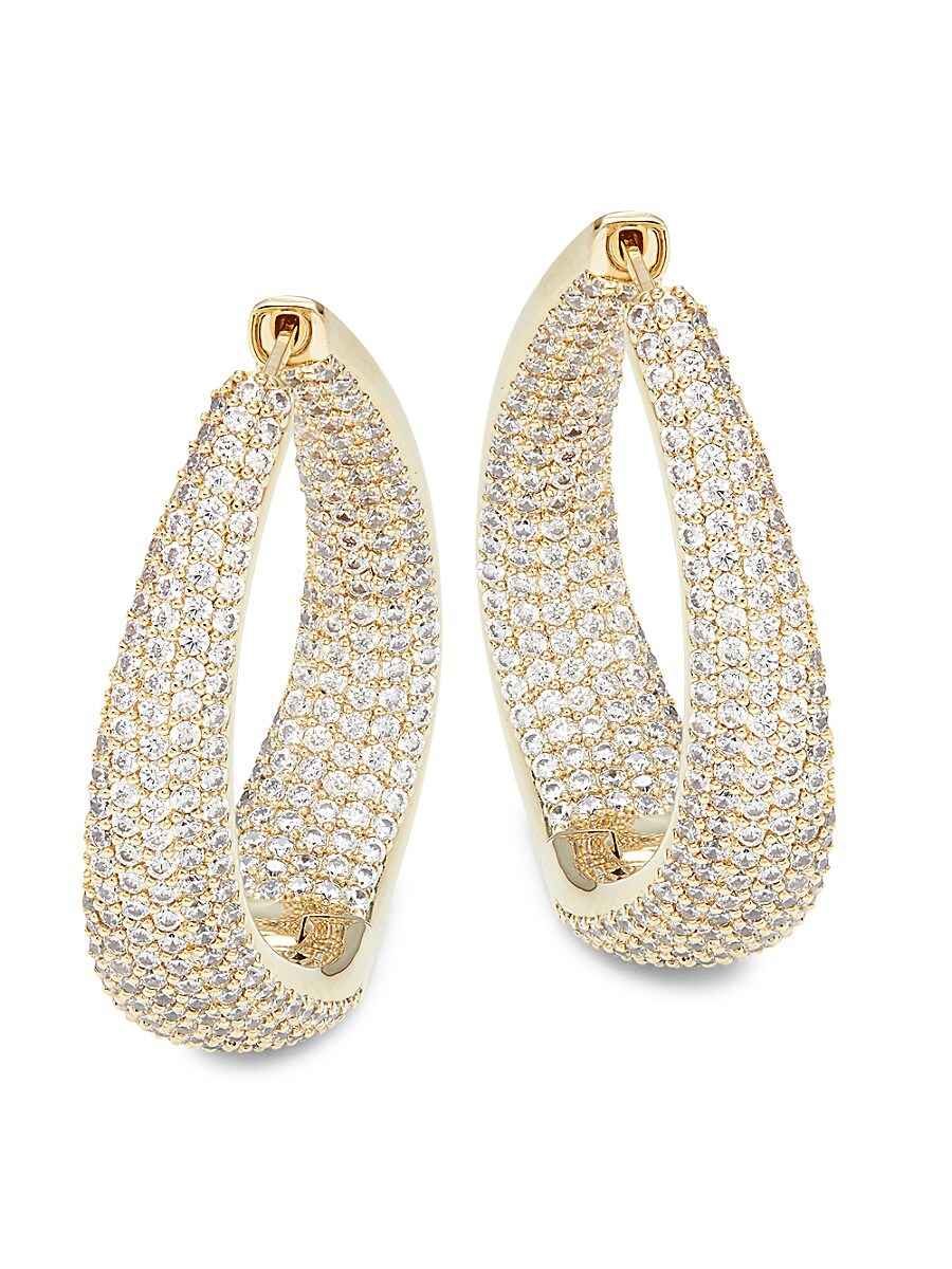 Women's Goldtone & Crystal Twist Hooper Earrings