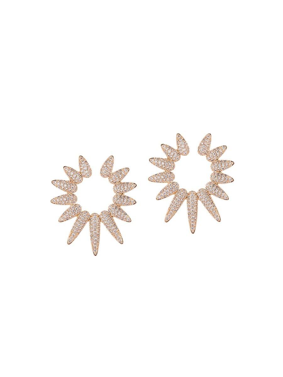 Women's The Luxe Spike 18K Goldplated & Crystal Stud Earrings