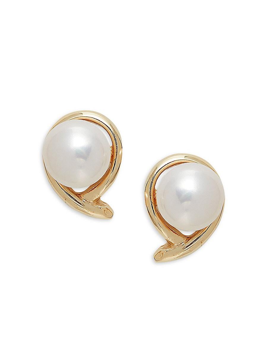 Women's Fancy 14K Yellow Gold & 7-8MM Round Freshwater Pearl Stud Earrings