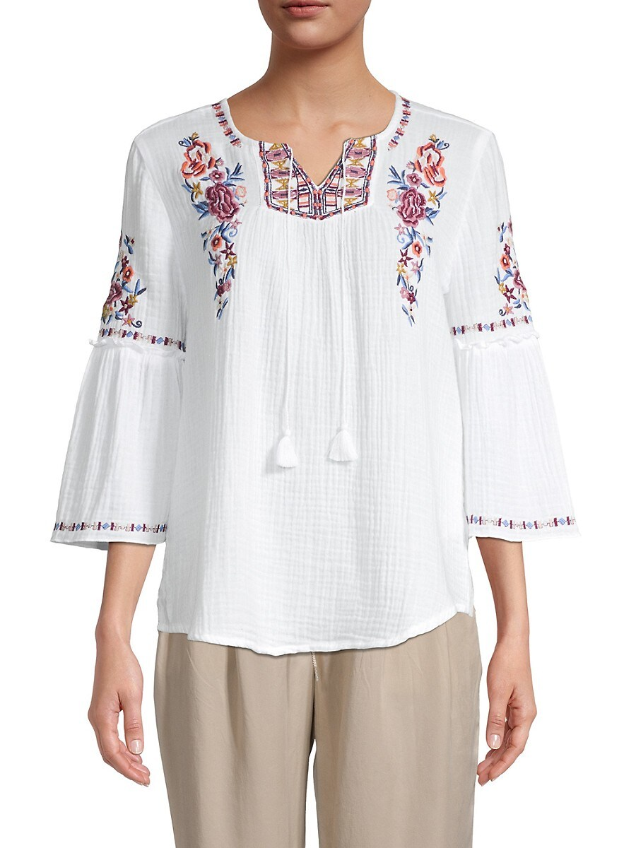 Beach Lunch Lounge Women's Stella Embroidered Peasant Blouse