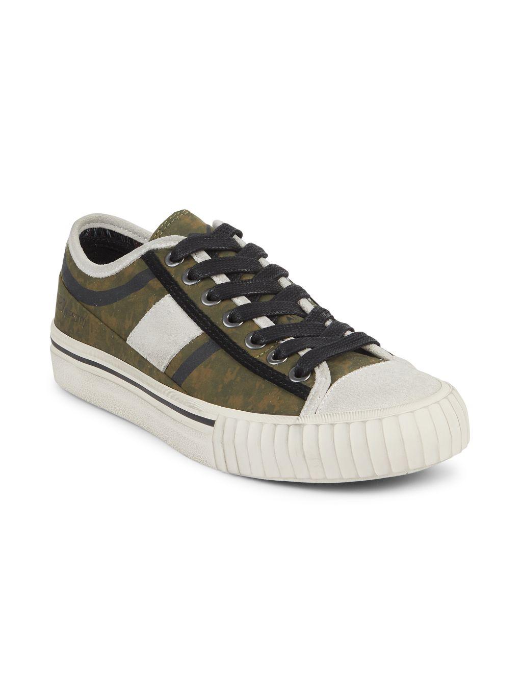 John Varvatos Vulcanized Surplus Suede-Trim Low Top Sneakers