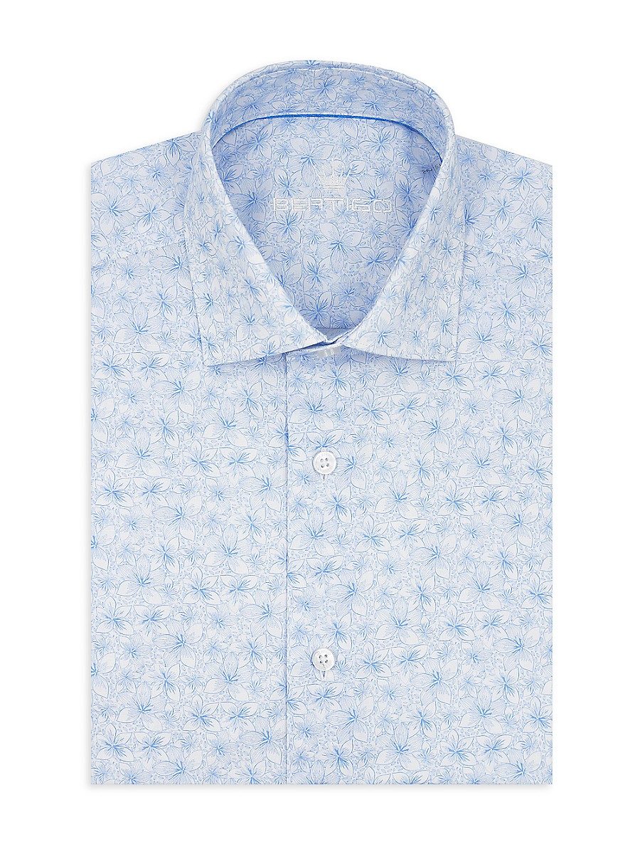 Men's Modern-Fit Printed Poplin Short-Sleeve Shirt