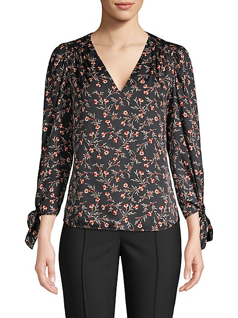Rebecca Taylor Lia Stretch Silk Floral Top