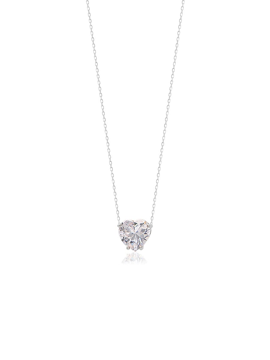 Women's Sterling Silver & White Crystal Heart Pendant Necklace