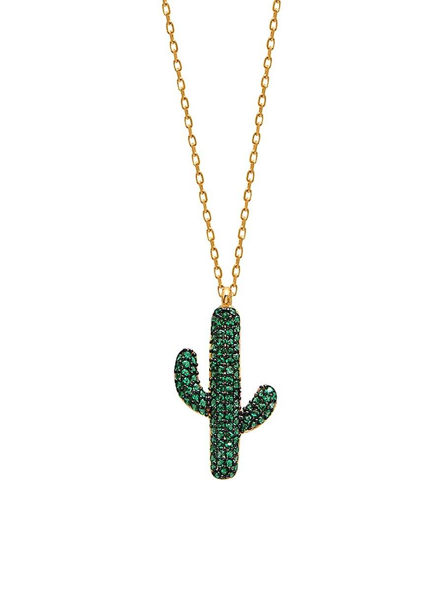 Women's 22K Gold Vermeil & Green Cubic Zirconia Cactus Pendant Necklace