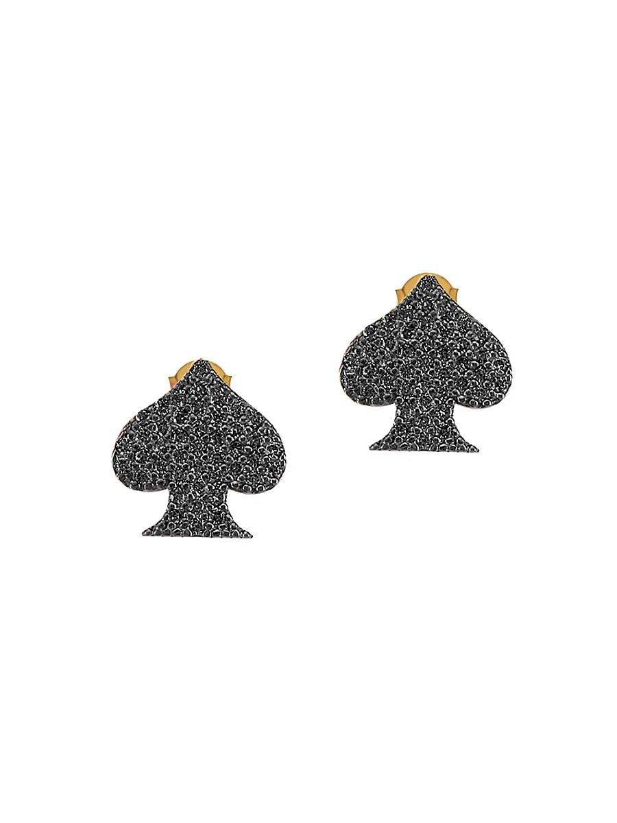 Women's 22K Gold Vermeil & Cubic Zirconia Spade Stud Earrings