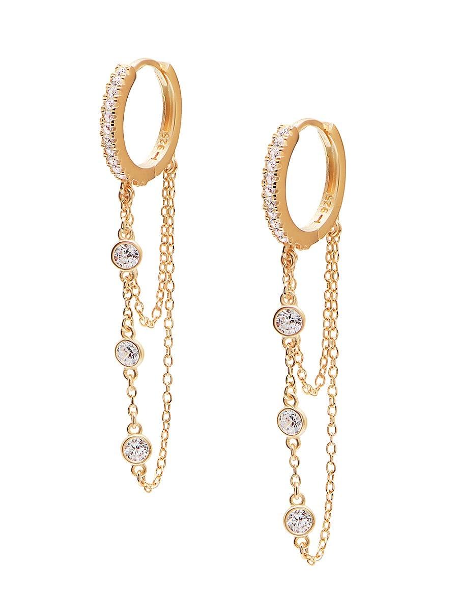 Women's 22K Goldplated & White Crystal Chain Huggie Earrings