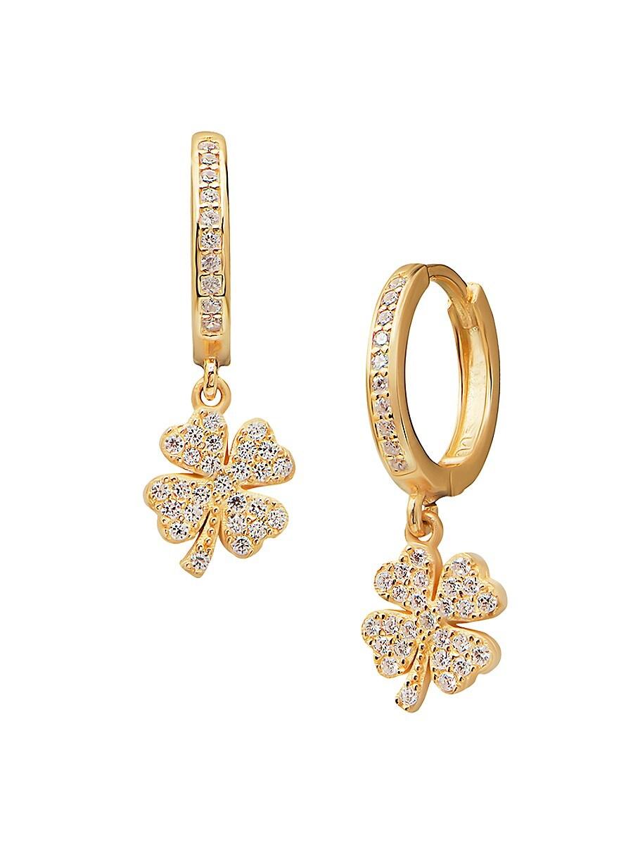 Women's 22K Goldplated & White Crystal Four-Leaf Clover Drop Earrings