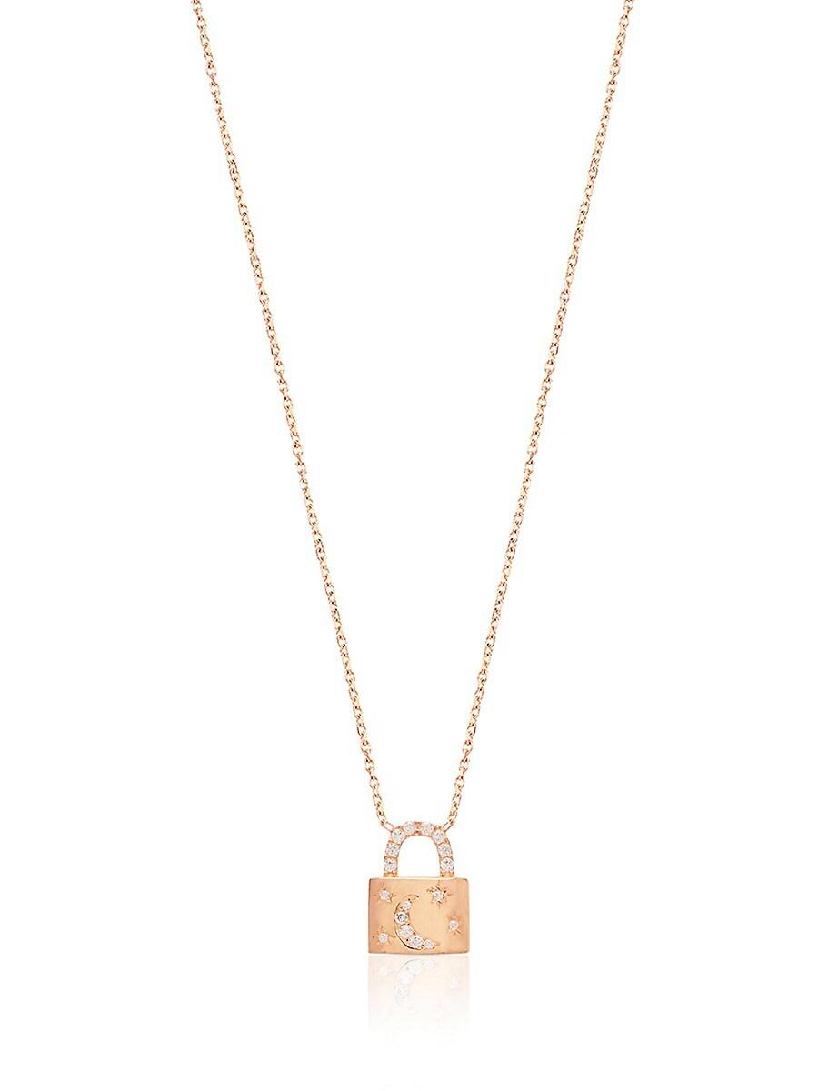 Women's 22K Rose Gold Vermeil & Cubic Zirconia Moon & Stars Lock Pendant Necklace