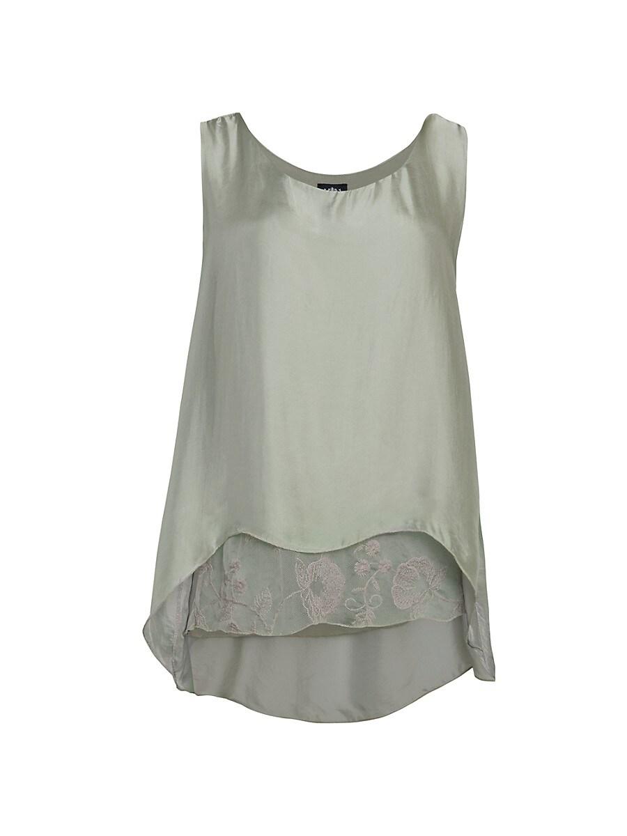 Women's Lace Underlay Silk Tank Top