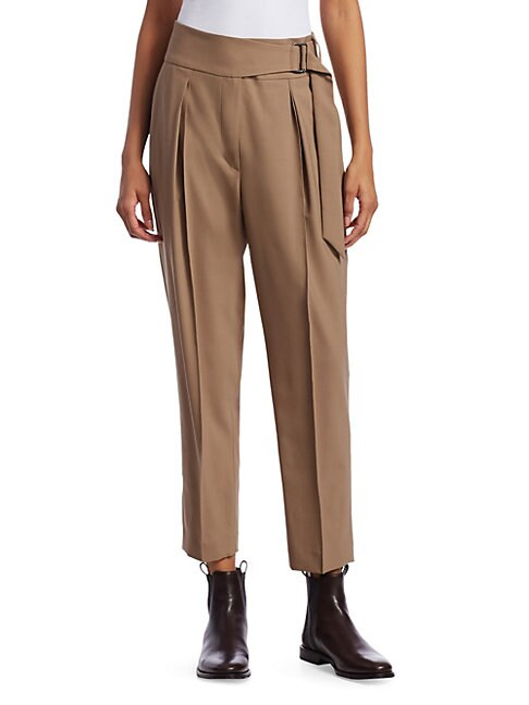 BRUNELLO CUCINELLI STRETCH WOOL FAUX-BELTED TROUSERS