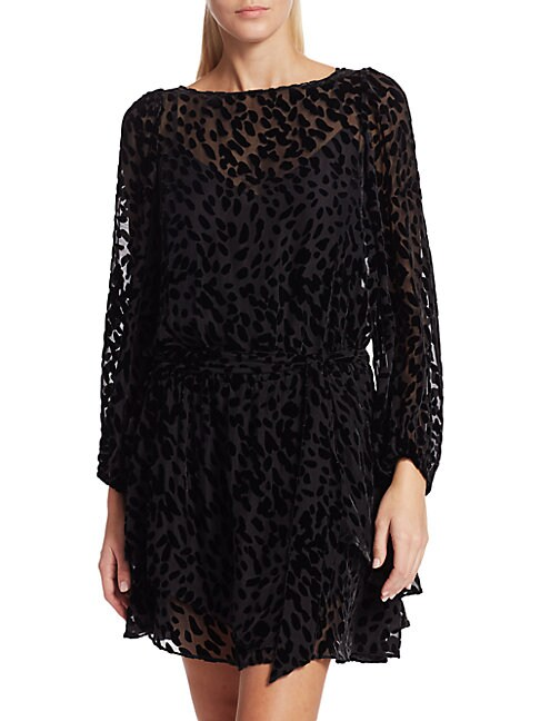 Tanya Taylor Sarina Stretch Silk Burnout Leopard Mini Dress In Black