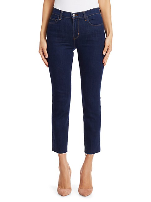 L Agence Sada High-rise Cropped Slim Kick Jeans In Oxford