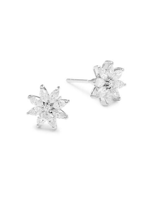 Saks Fifth Avenue 14K White Gold Diamond Floral Earrings