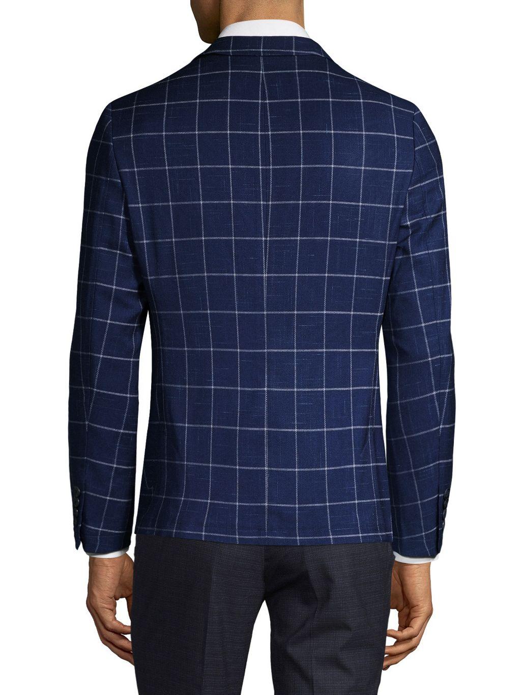 NHP Extra Slim-Fit Windowpane-Print Jacket