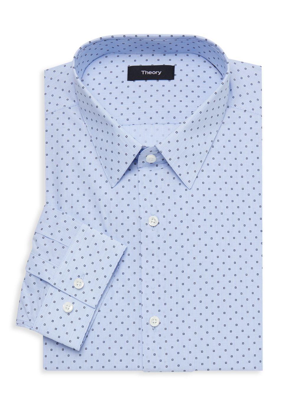 Theory Square-Print Long-Sleeve Dress Shirt
