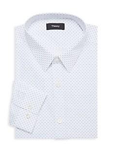 띠어리 Theory Chevron-Print Dress Shirt,FROST