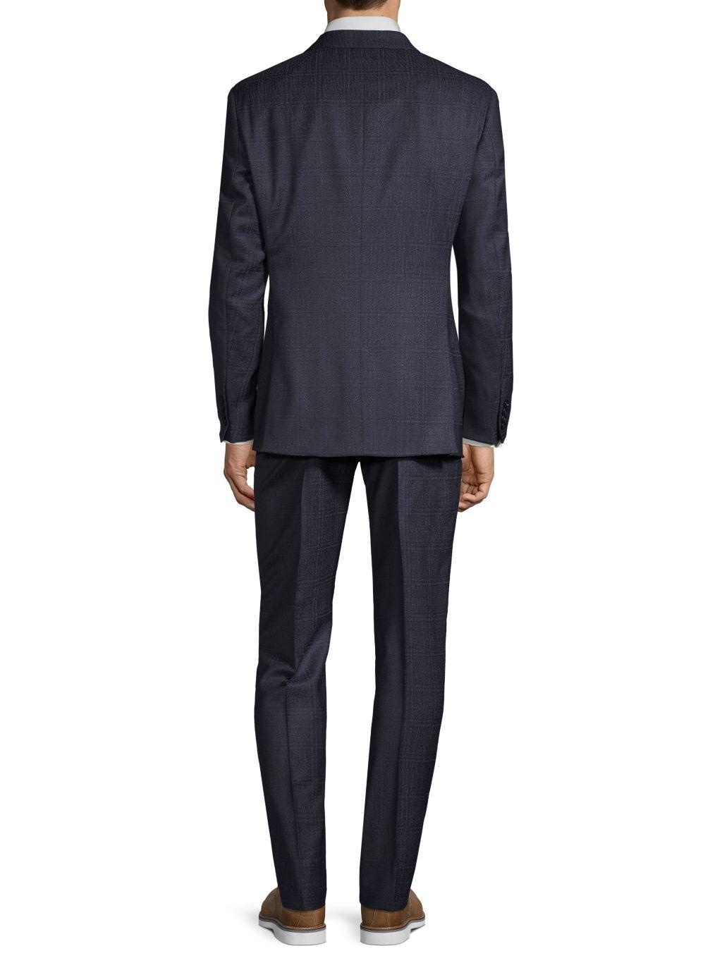 Armani Collezioni G-Line Virgin Wool Plaid Suit