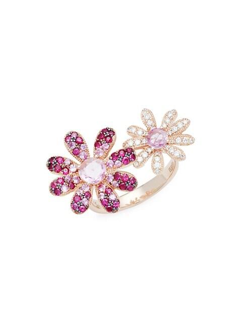 Effy 14K Rose Gold, Gemstone & Diamond Double Flower Ring