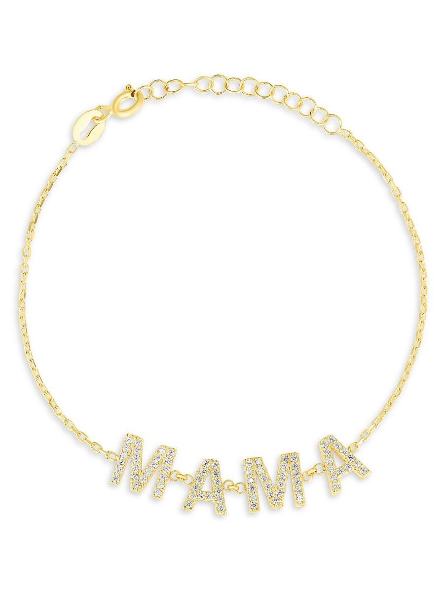 Women's 18K Goldplated Sterling Silver & Cubic Zirconia Mama Chain Bracelet
