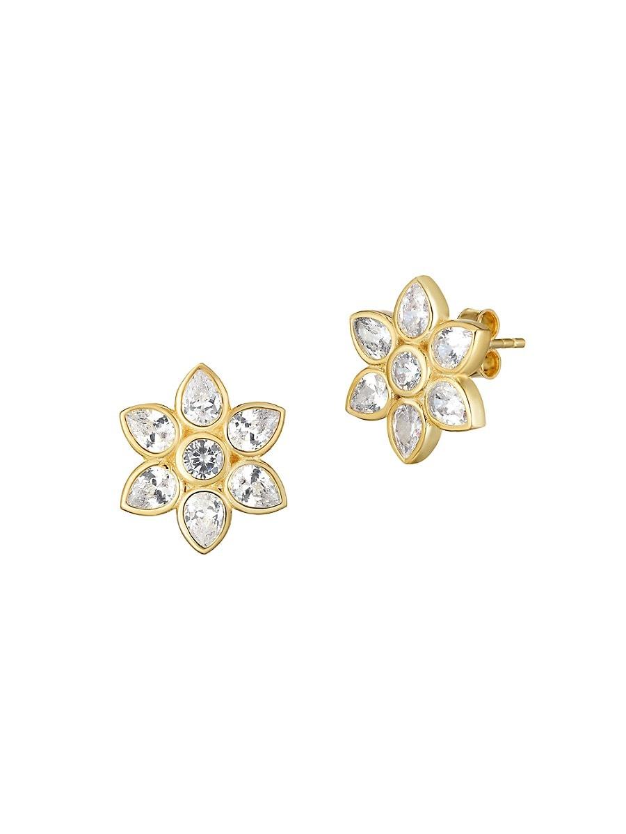Women's 18K Yellow Goldplated Sterling Silver & Crystal Stud Earrings