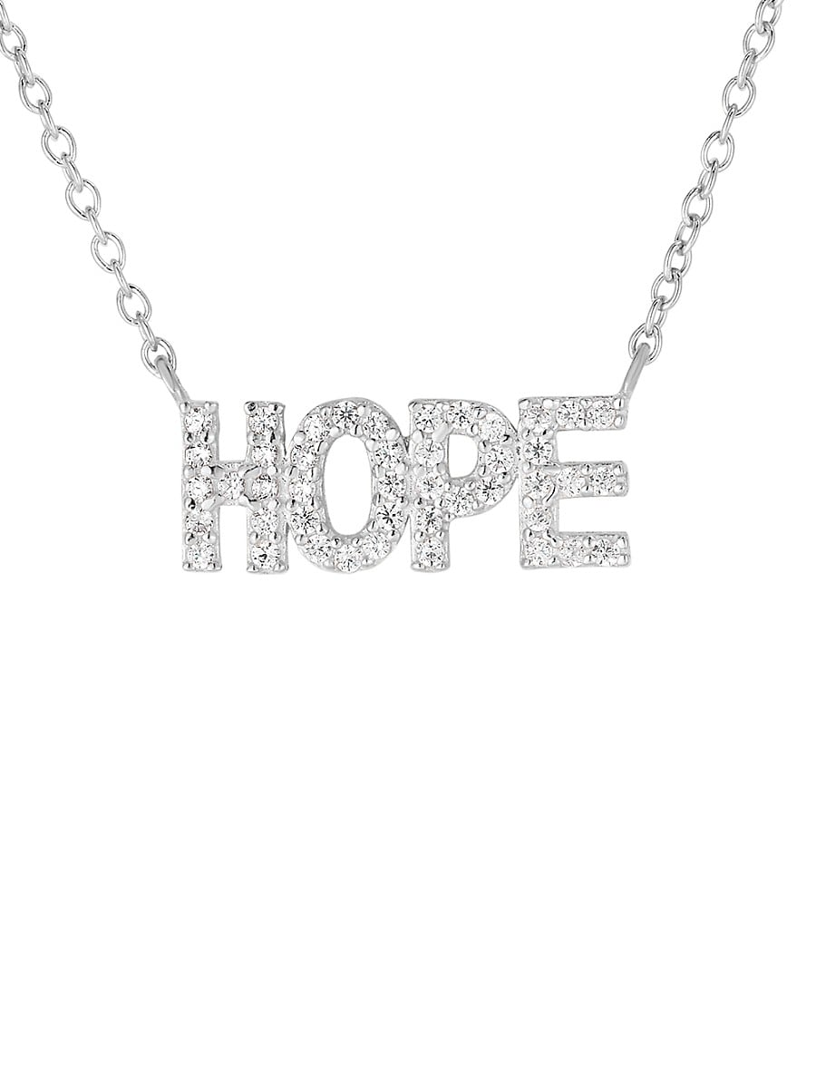 Women's Hope Rhodium-Plated Sterling Silver & Crystal Charm Necklace