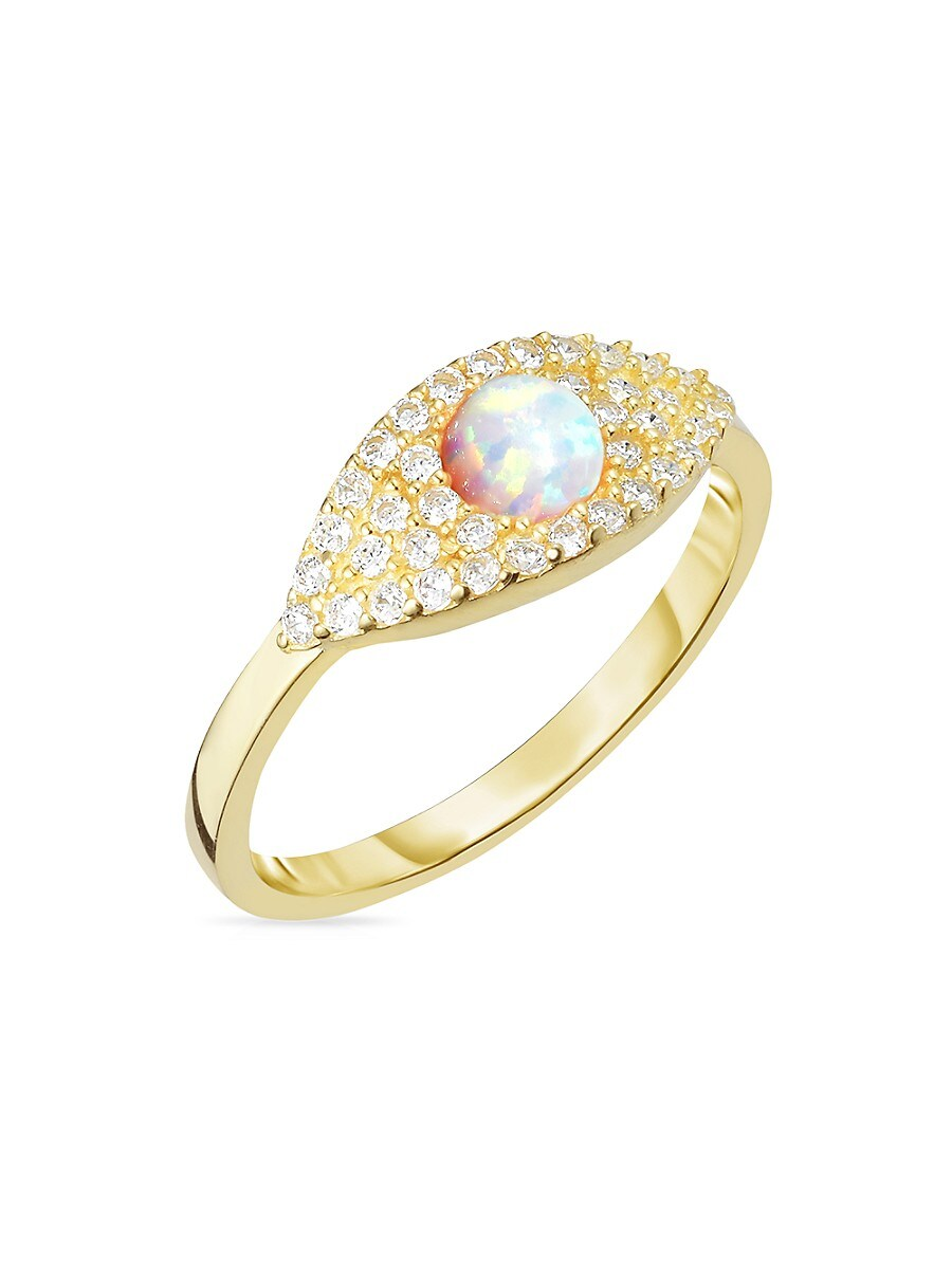 Women's 18K Yellow Goldplated Sterling Silver & Crystal Ring