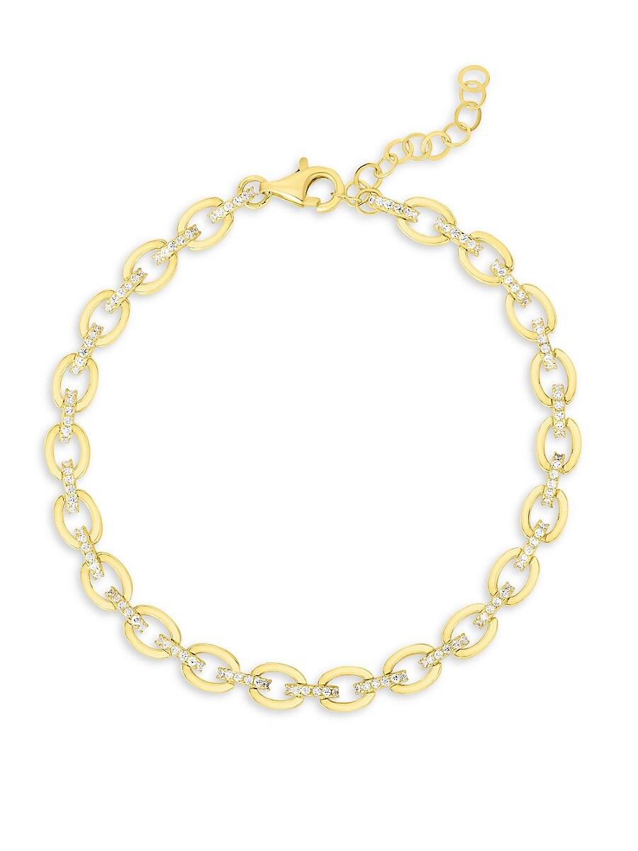 Women's 18K Goldplated Sterling Silver & Crystal Chain Bracelet